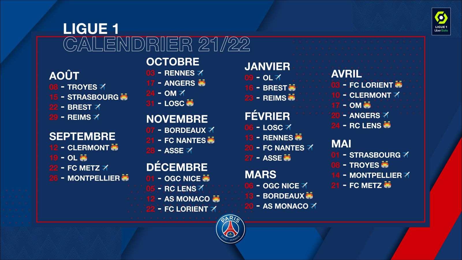 Calendrier Match Ol 2022 Ligue 1 fixture list unveiled! | Paris Saint Germain
